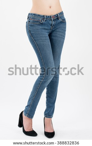 asian women posing in jeans front views,isolated on white background. - stock photo