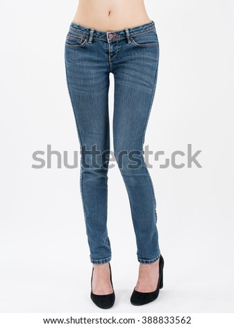 asian women posing in jeans front views,isolated on white background.