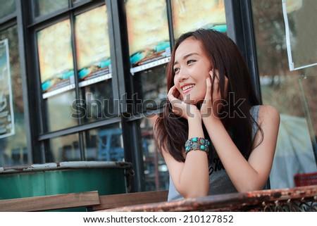 Asian women smile closeup - stock photo