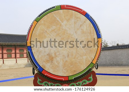 Asian wooden leather old temple drum. - stock photo