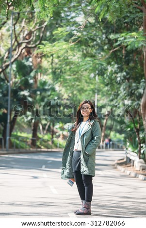 Asian work woman with casual wear at outdoor - stock photo