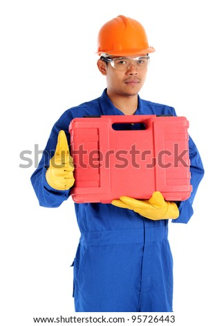 asian worker with tool box and thumb up ready to work - stock photo