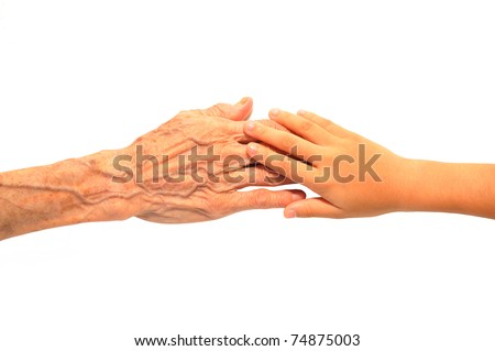 Asian Wrinkled Aging Hand Touching Child Hand With White Background - stock photo