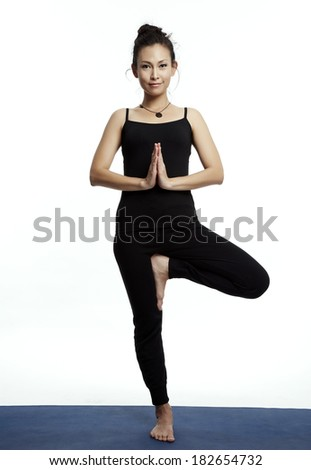 Asian young beautiful yoga posing on a white studio background-Studio Shooting. - stock photo