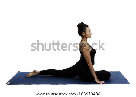 Asian young beautiful yoga posing on a white studio background-Studio Shooting.