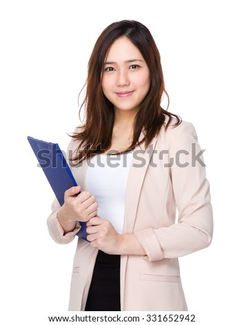 Asian Young Buisnesswoman hold with clipboard