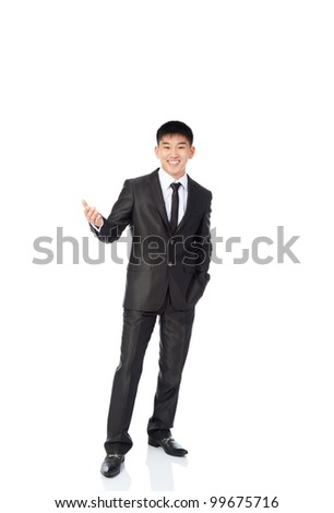 asian young business man hold hand welcome gesture happy smile, businessman wear elegant suit and tie full length portrait isolated over white background - stock photo