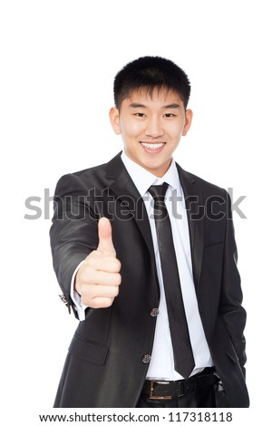 asian young business man hold hand with thumb up gesture, handsome businessman happy smile, wear elegant suit and tie isolated over white background