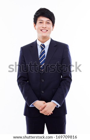 Asian young business man isolated on white background. - stock photo