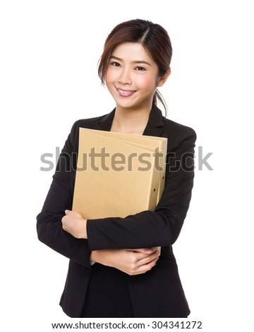 Asian Young businesswoman hold with document work - stock photo