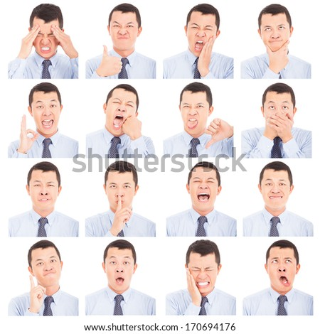 asian young man face expressions composite isolated on white  - stock photo