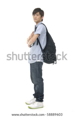 Asian young man standing man with books and bag