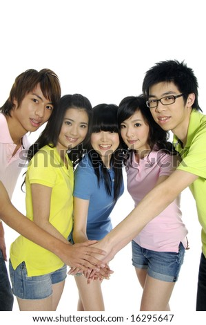 Asian Young students showing unity - stock photo