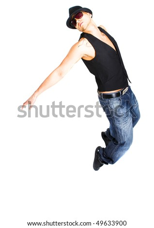 Asian young stylish dancer over white background. - stock photo