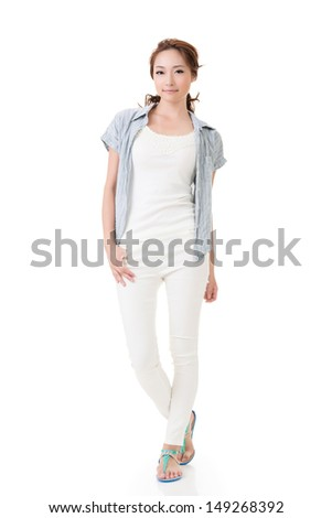 Asian young woman strike a attractive pose, full length portrait isolated on white background.
