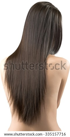 Asian young woman with long medium brown hair with hands covering chest - Isolated