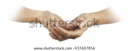 Ask believe receive -  Female gently cupped hands emerging from a white background with a religious, pure feel  - stock photo