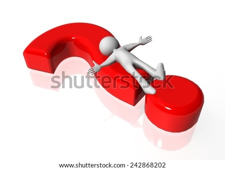 ask, question mark red and white man character lies on it, looking for answers - stock photo