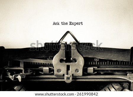 Ask the Expert message typed on vintage typewriter