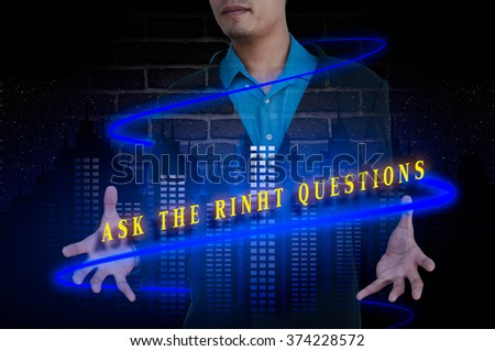 ASK THE RINHT QUESTIONS message double exposure concept with bus - stock photo
