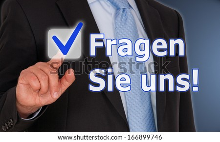 Ask us ! - German Language - stock photo
