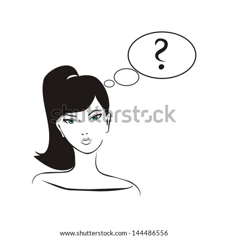 Asking girl. Young, hand drawn in simply glamour design style, thinking girl with black hair and question mark in bubble speech. Illustration isolated on white background. What should I do? - stock photo