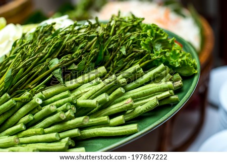 Asparagus and basil on a plate - stock photo