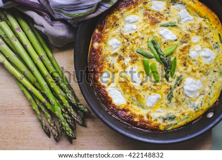 Asparagus and goat's cheese frittata - stock photo