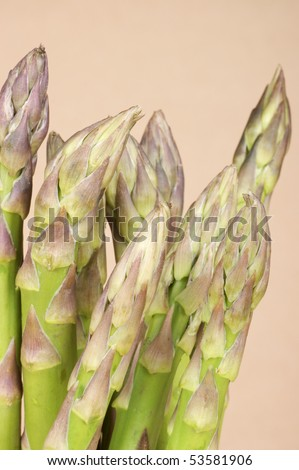 Asparagus close-up on a light brown background. Studio shot.