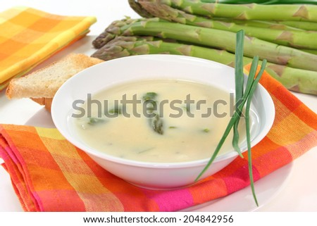 Asparagus cream soup - stock photo