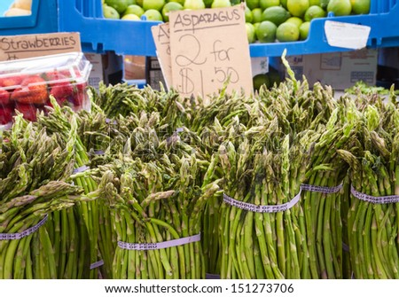 Asparagus for sale at they Haymarket, Boston - stock photo