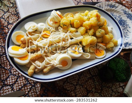 Asparagus salad with egg and fresh dill potato   - stock photo