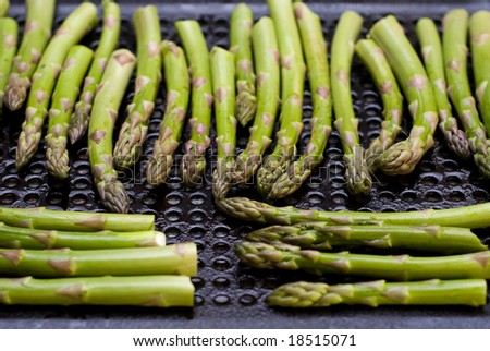 Asparagus Spears on a Grill - stock photo