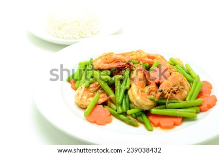 Asparagus stir fried with prawns isolated on white