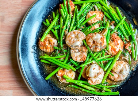 asparagus with shirmps - stock photo