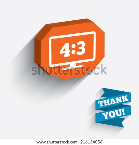 Aspect ratio 4:3 widescreen tv sign icon. Monitor symbol. White icon on orange 3D piece of wall. Carved in stone with long flat shadow. - stock photo