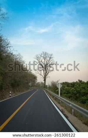 asphalt road ,countryside road,Thailand - stock photo