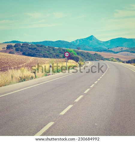 Asphalt Road in the Cantabrian Mountains, Spain, Instagram Effect - stock photo