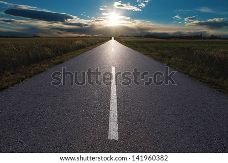 Asphalt road in the fields at sunset