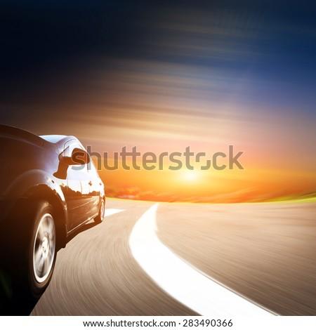 asphalt road in the Tuscany Italy - stock photo