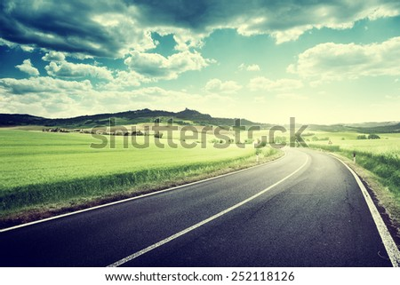 asphalt road in Tuscany Italy  - stock photo