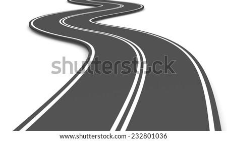 Asphalt Road on White Background 3D Illustration - stock photo