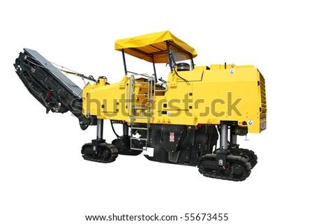 asphalt spreading machine under the white background - stock photo
