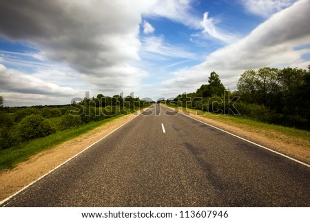 asphalted road - stock photo