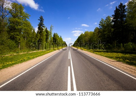 asphalted road (spring) - stock photo
