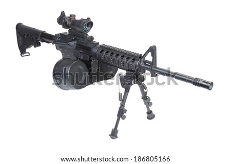 assault rifle assault rifle with bipod isolated on a white backgroundwith bipod isolated on a white background - stock photo