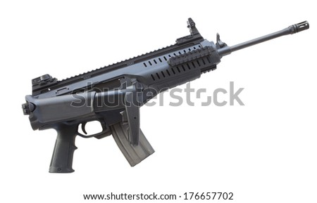 Assault rifle isolated on white with its adjustable stock folded - stock photo