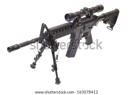 assault rifle with bipod isolated on a white background - stock photo