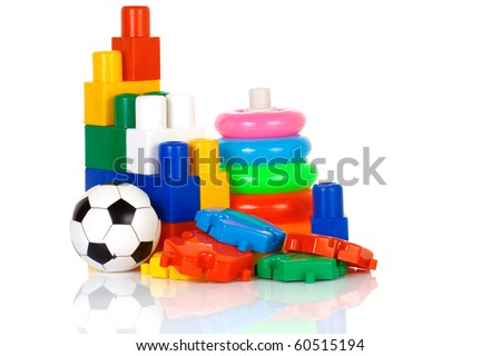 assemble of colorful plastic toys