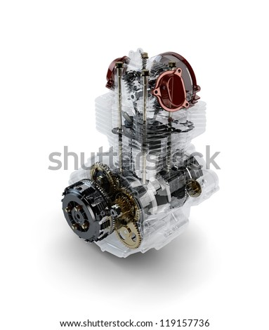 Assembled motorcycle performance engine in transparent case isolated on white - stock photo